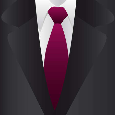 ternos: Formal suit and tie, close up, vector illustration