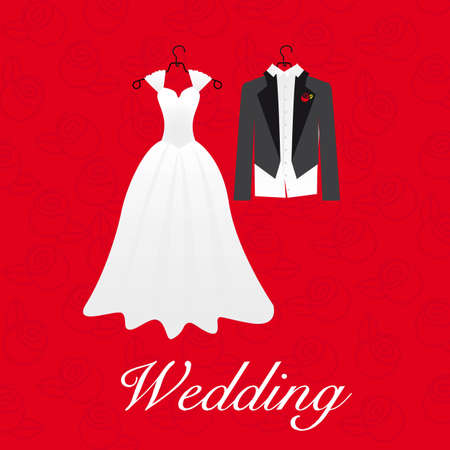 formal attire: wedding card, wedding dresses, vector illustration