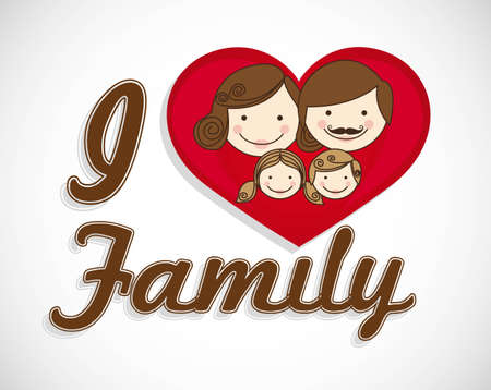 happy family consists of father, mother, girl and boy with a heart Vector