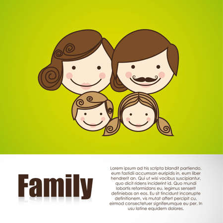 mom and dad: happy family consists of father, mother, girl and boy