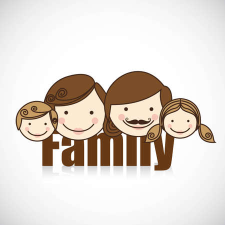 brother and sister cartoon: happy family consists of father, mother, girl and boy