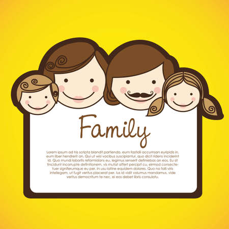 happy family consists of father, mother, girl and boy Vector
