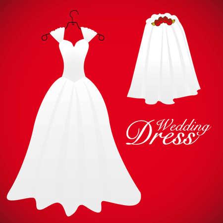 tarjeta de boda, vestidos de boda, ilustración vectorial