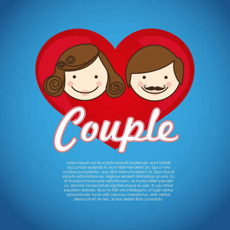 illustration of couple on heart on blue background, vector illustration Stock Vector - 13774263