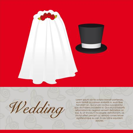 wedding card, wedding veil and groom hat Stock Vector - 13774254