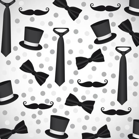 background silhouettes of neckties, ties, hats and mustaches Vector