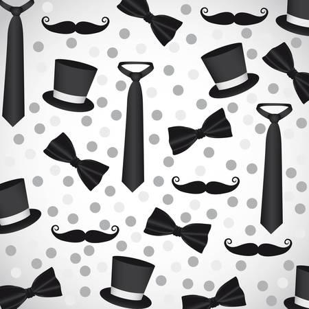 formalwear: siluetas de fondo de las corbatas, corbatas, sombreros y bigotes Vectores