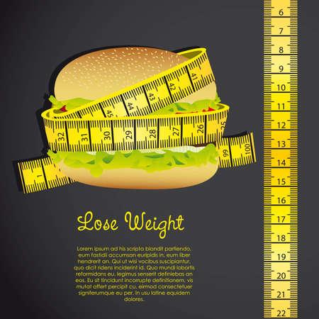 meter around the hamburger over black background. vector Vector
