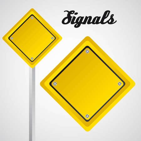 illustation: rhombus yellow sign over gray background. vector illustation