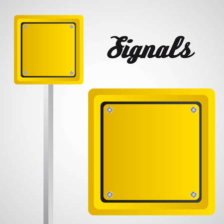 square yellow sign over gray background. vector illustration Illustration