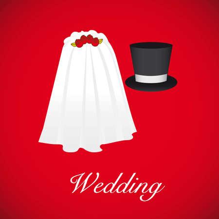 tarjeta de boda, velo de novia y el sombrero del novio Ilustración de vector