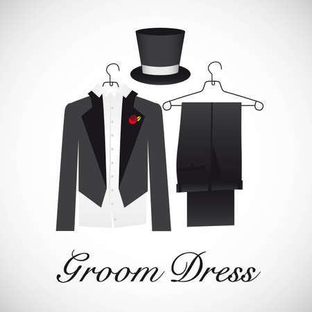 stated: card marriage, groom suits, vector illustration Illustration