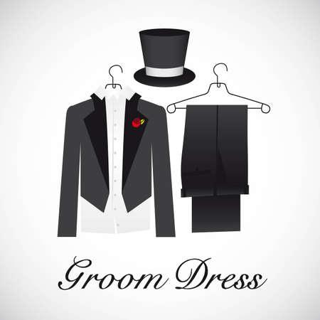 formalwear: el matrimonio de tarjeta, trajes de novio, ilustraci�n vectorial