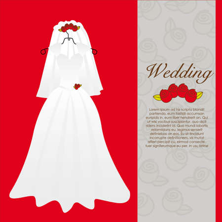 pompous: wedding dress, wedding invitation vector illustration Illustration
