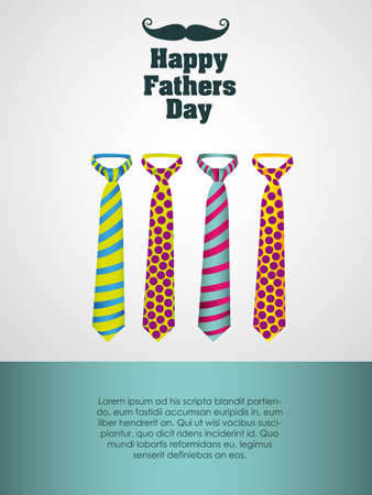 Happy Fathers Day, holiday card with ties Illustration