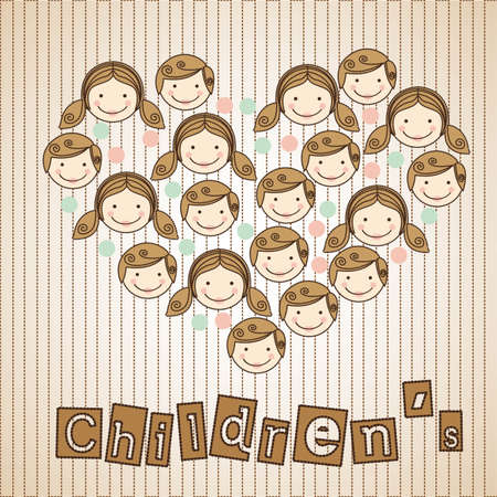 illustration of sticker childrens heads in heart, illustration Stock Vector - 13774555