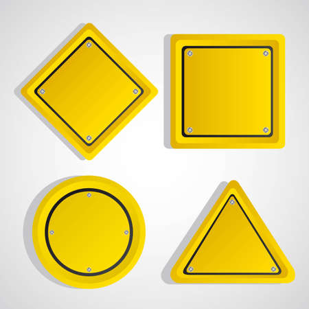 yellow sign over gray background. vector illustration