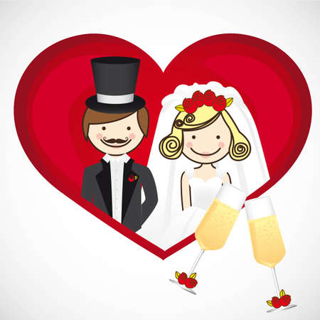 wedding card, wedding couple with wedding dresses Stock Vector - 13774143