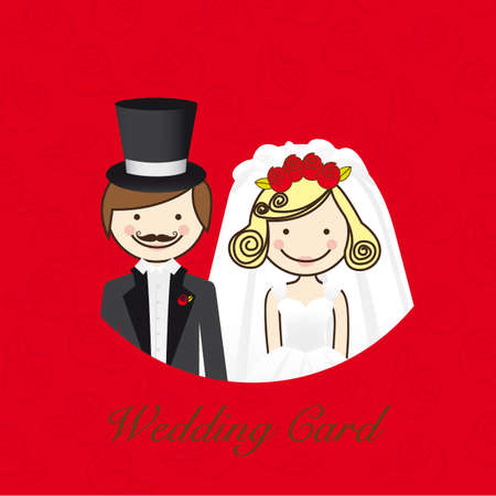 wedding card, wedding couple with wedding dresses Stock Vector - 13774265