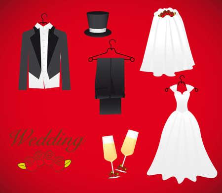 結婚のオブジェクトを含む: ウェディング ドレス、新郎ドレス、シャンパン グラス、帽子、結婚式のベール
