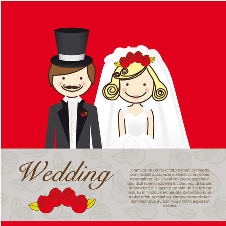 wedding card, wedding couple with wedding dresses Stock Vector - 13774266