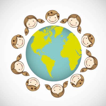 mixed race children: illustration of children around the world on white background