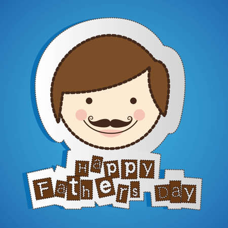 stickers of fathers day isolate on blue background Vector