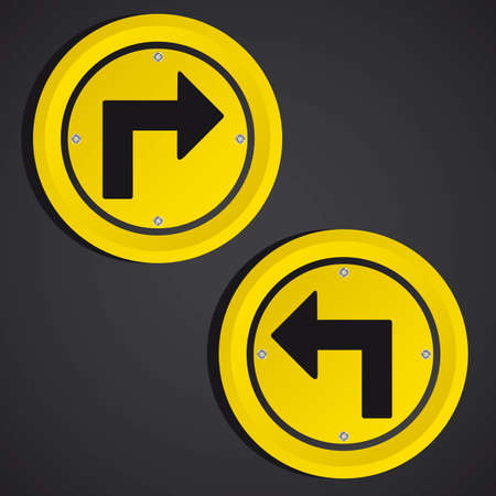 arrows yellow circle sign over black background. vector illustration Vector