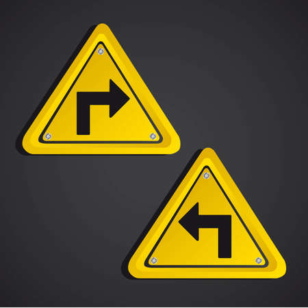 arrows  yellow sign over black background. vector illustration Vector