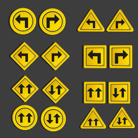 Set of traffic signs, isolated on black background, vector illustration Vector