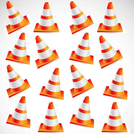 Pattern traffic cones isolated on white background, vector illustration. Vector