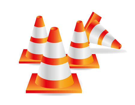 traffic cones isolated on white background, vector illustration. Vector