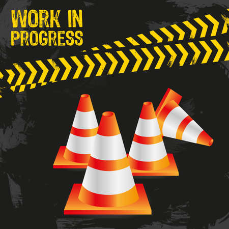 traffic cones on grunge background with signals, vector illustration. Stock Vector - 14043923