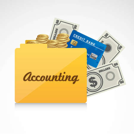 expenses: Icon of accounts. Folder accounting reporting vector illustration