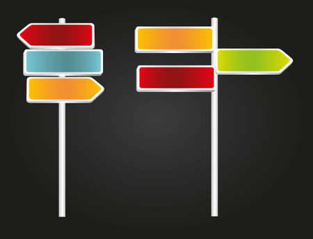 advisory: set of signs with arrows and rectangular, green, blue, red and orange isolated on black background Illustration