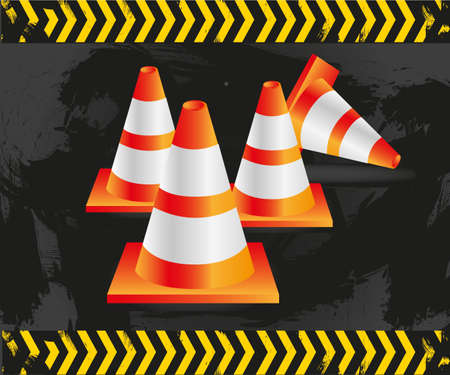 traffic cones on grunge background with signals, vector illustration. Vector