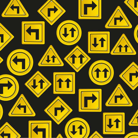 Pattern of traffic signs, isolated on black background, vector illustration Stock Vector - 14043868