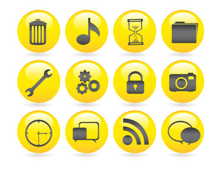 bubbles icons gel, containing garbage, settings, gear, folder, clock, camera, signal, speech bubbles. Vector
