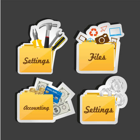 set of computer icons, folder contains files, folder, accounting, and two styles of folder settings Vector