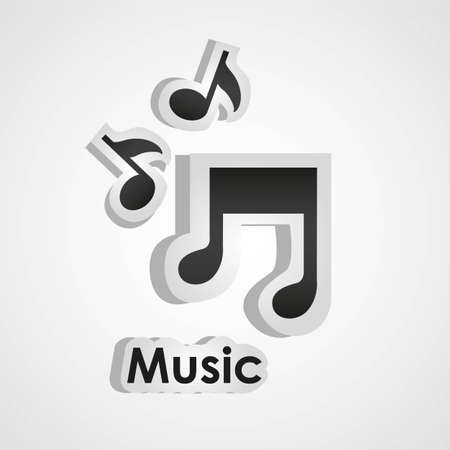eight note: icons of music, with scissors and cut lines, vector illustration Illustration