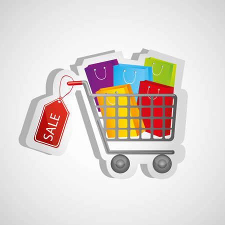 shopping cart sticker kits, isolated on white background, vector illustration Vector