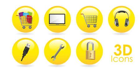 gelatina: conjunto de iconos en amarillo esferas de gelatina, ilustraci�n vectorial