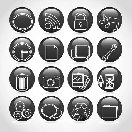 gel buttons in black, outlined with white icons Vector