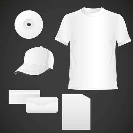 white team kit, hat, shirt, cd, on letter, letter sheet Vector