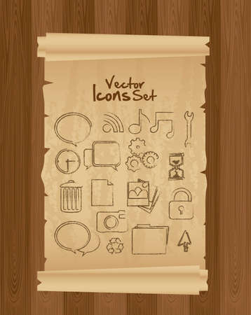 grunge icon set, on old paper, vector illustration Vector