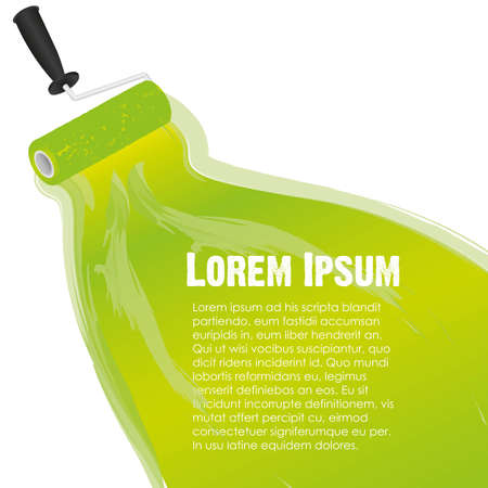 home repair: spots on paint roller, with space for text, vector illustration