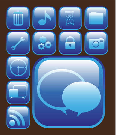 set of silhouettes of icons on bright blue squares, vector illustration Vector