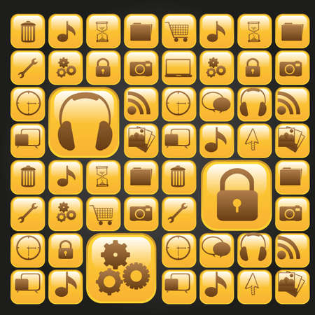 set of silhouettes of icons on bright yellow squares, vector illustration Vector