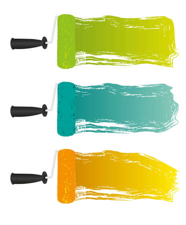 spots on paint roller, with space for text, vector illustration