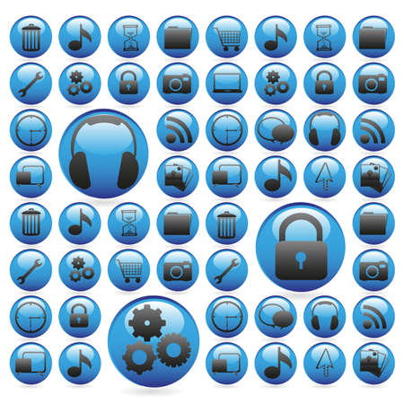 website buttons: gel buttons in blue, outlined with white icons, vector illustration